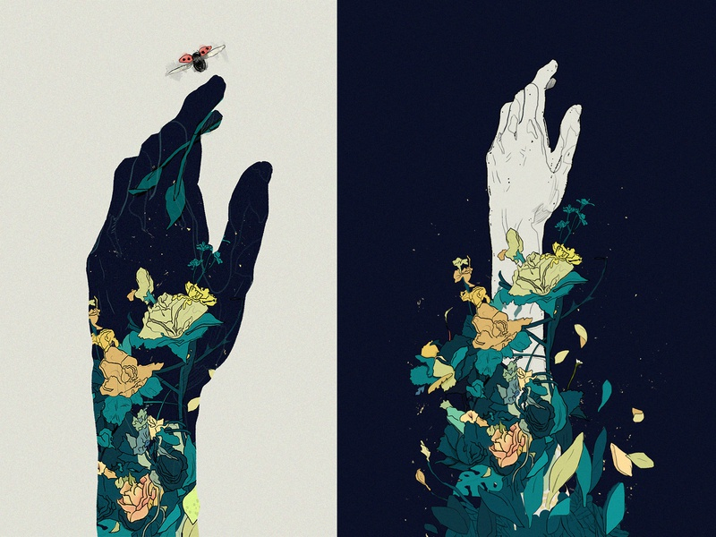The blooming graphic design graphicdesign graphics graphic gestures hand garden floral design vector hero character illustration scene