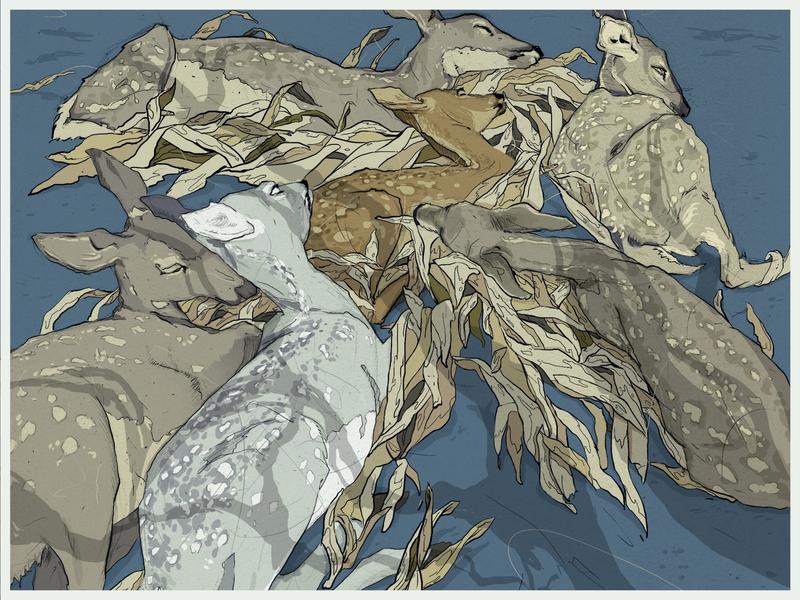 "Resting dears on nature, ""Daydreaming in leaves"" illustration art print book art book design forest vector character illustration scene"