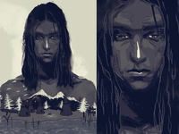 Sad indian over a tribe valley, graphic illustration for a book