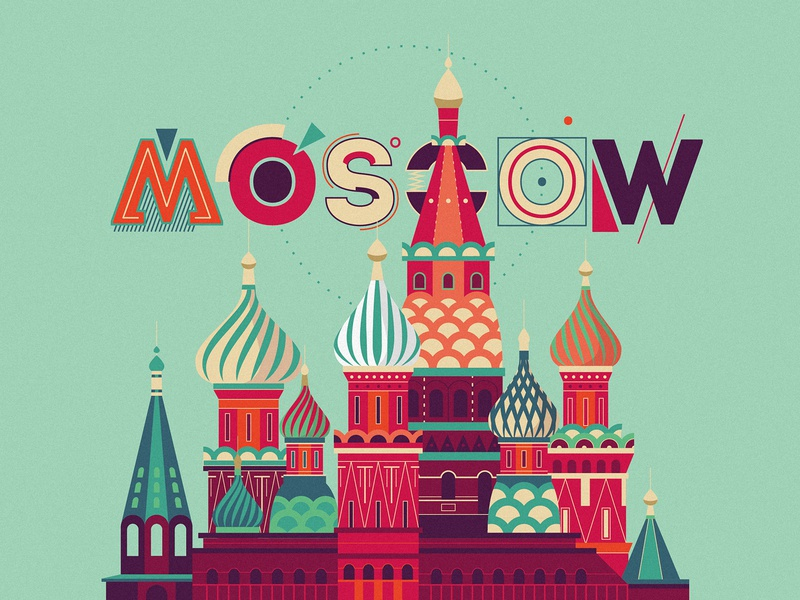 """Moscow"" graphic illustration typography design typography art font design moscow illustration art flat illustration 2d art 2d flat design vector illustration scene"