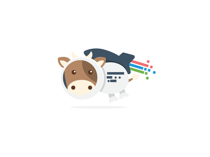 Flat and Fun Space Cow logo design