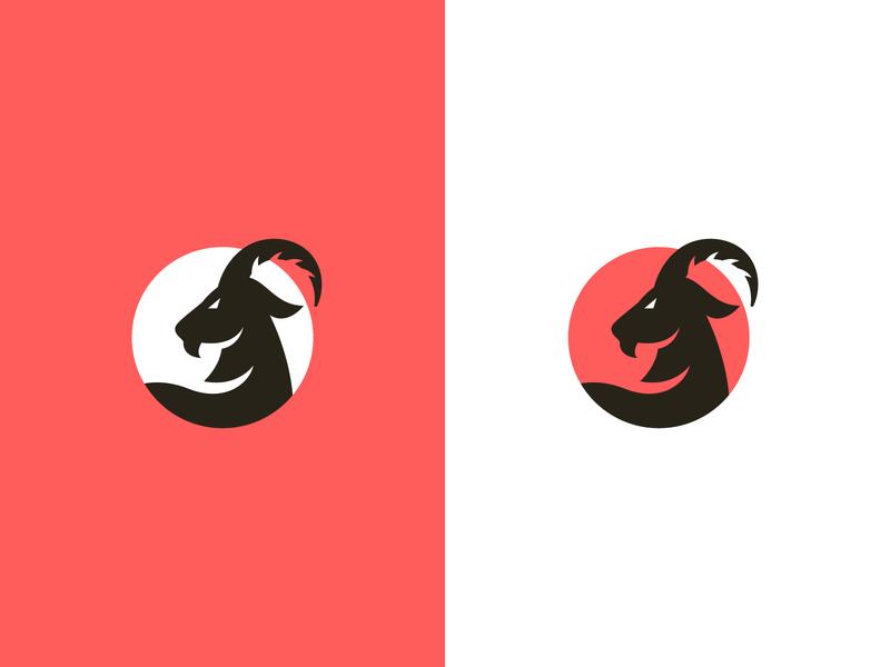 Creative Goat Logo design logos flat @design redlogos red flat design logodesign goat head animals logo animal logo animal ramlogo ram goatlogo goats goat