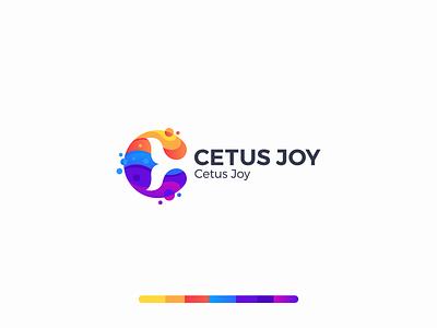 Cetus Joy Logo Design minimal colors creative logo branding typography logodesign logo colorful illustration colorful lettermark wave tail fish fishtail whale