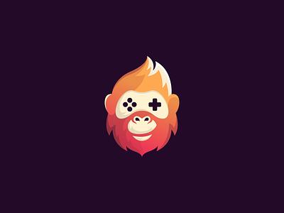 Monkey Joystick Logo Design fun branding flat designinspiration graphicdesign creative illustration logodesign logo animallogo animal play joystick game gaming gorilla monkey