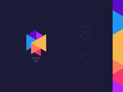 Lightbulb+Box Logo Design design brand logodesigner logo inspiration illustration flat electricity electric idea box lightbulb bulb colorful