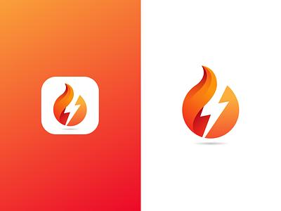 Fire+Thunder Icon Design storm thunder flat creative design branding brand illustration logodesign logo app appicon firelogo icon design icon flame fire