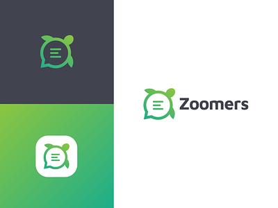 Zoomers Logo Design flat creative turtle logo logodesign logo branding financial finance shell green animallogo animal blog turtle