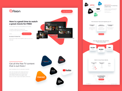 Creative Red Website design for Flixon by Bojan Sandic