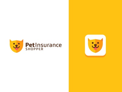 Cute Flat Dog logo design for PetInsurance