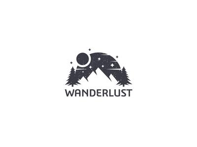 Wanderlust Mountains at night logo design