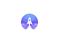 Creative Modern Rocket in Space logo design