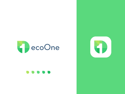Flat leaf eco friendly logo design
