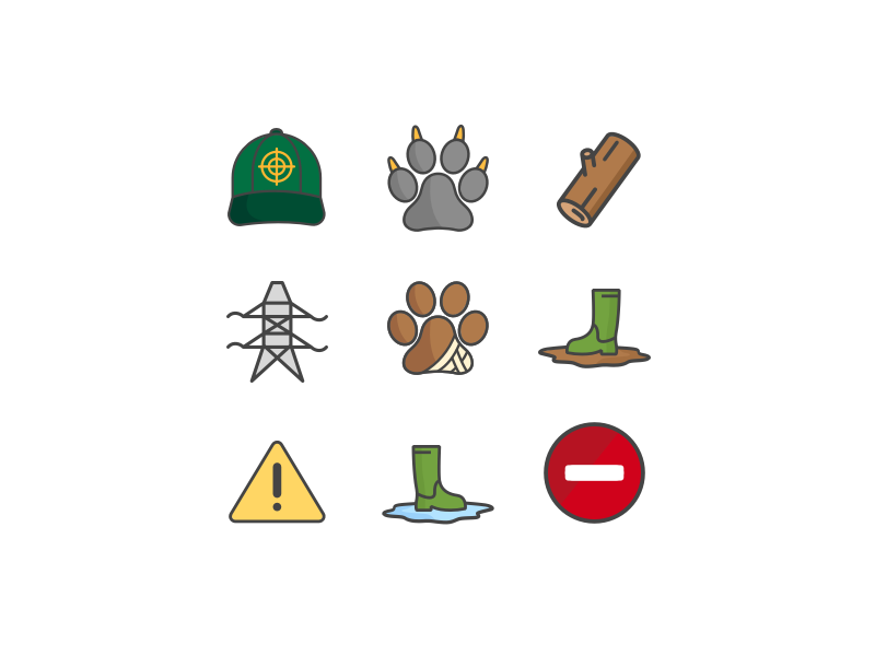 Nature icons by Melckone icons set lines simple nature animals illustration icons