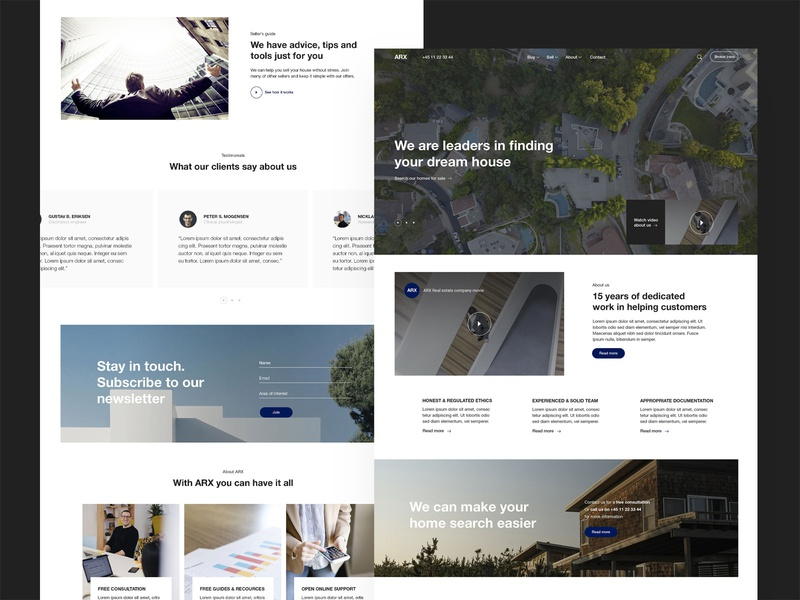 ARX Real Estate Frontpage rental business real estate ux ui website web design