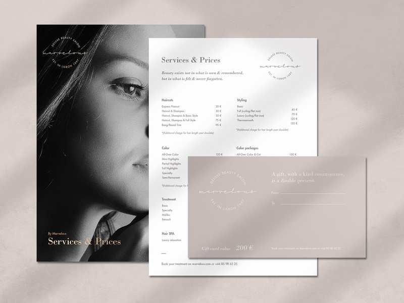 Brand Identity for Marvelous Deluxe style fashion gift card beauty business card print minimal clean feminine salon luxury identity branding
