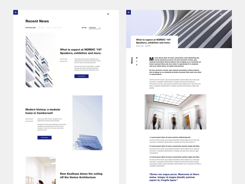 Nordic fair news page minimal layout web design website ux ui web architecture event