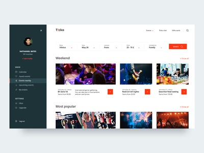 Website UI for event tickets shop dashboard event clean minimal photography search ux layout inspiration web ui