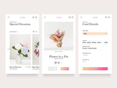 Flower store UI shop store gradient clean minimal flower gallery ux layout inspiration web ui