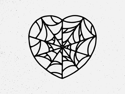 Caught in a Web hand drawn graphic design neotraditional traditional tattoo design illustration love heart cobweb spiderweb web