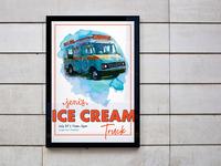 Jeni's Ice Cream Truck at Jungle Jim's food truck graphic design jenis ice cream shop ice cream illustration art illustration poster poster art watercolor watercolour grocery jungle jims