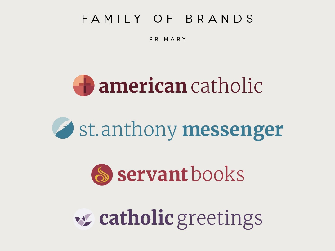 Franciscan Media Primary Brand Family family of brands logo design franciscan franciscan media design identity christianity branding christian catholic graphic design typography