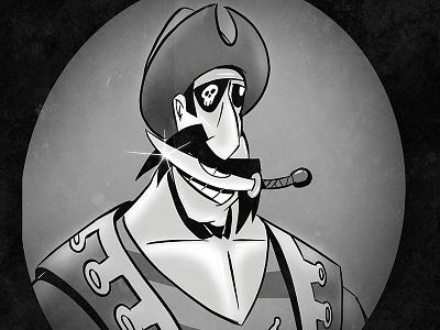 Arrr... flat 2d charicature portrait pirate character design illustration