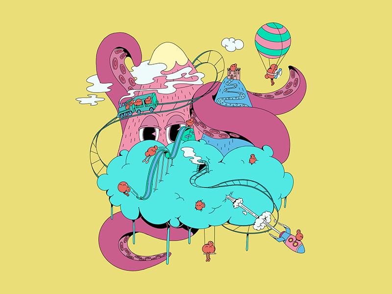 Somewhere beyond the clouds childrens illustration imagination roller coaster dream psychodelic octopus island clouds procreate illustration