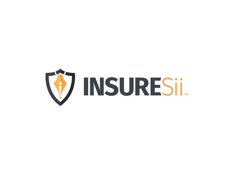 INSURESii - Logo typography shield yellow branding pen insurance logo