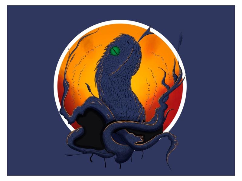 Snake summer ui illustration t-shirt style art sketch procreate color print snake