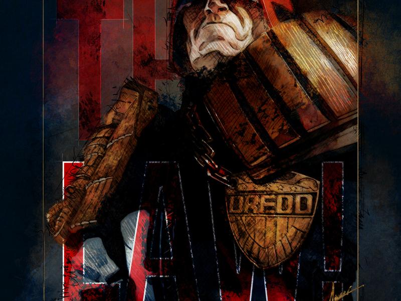 Dredd Judge As Sketch 2 gift comic kyle brushes poster challenge judge dredd illustration