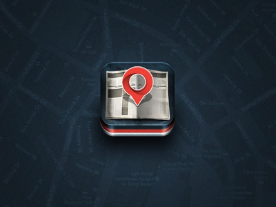 Locaber newspaper ramotion icon icons app texture appstore application ios white ipad iphone gray leather realistic red details flares map flares