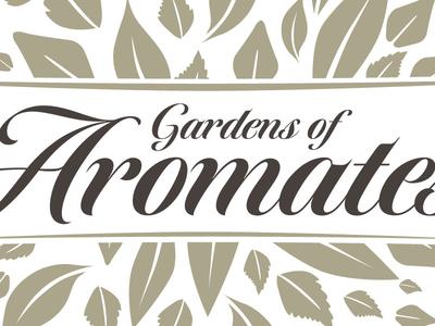 Gardens of Aromates corporate identity logo design stationery website event venue