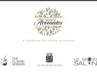 Gardens of Aromates corporate identity logo design stationery website event venue