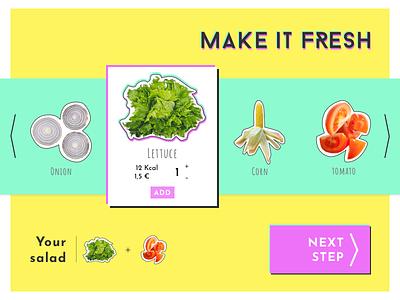 DailyUI #033 - Customize Product cyan pink yellow bright colors salad bar salad product customize product daily ui dailyui 033 dailyui 033