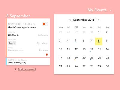 DailyUI #038 - Calendar event calendar dropdown calendar dailyui daily ui challenge daily ui