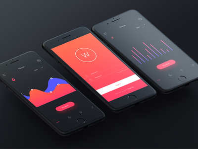 Blacked Out - Mobile Fitness iphone ios freebie dashboard colour clean  ux  app  vector  typography  ui design