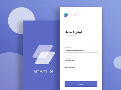 UltimateDB Mobile iphonex iphone typography ux ui sketchapp mobile signup login dashboard ios