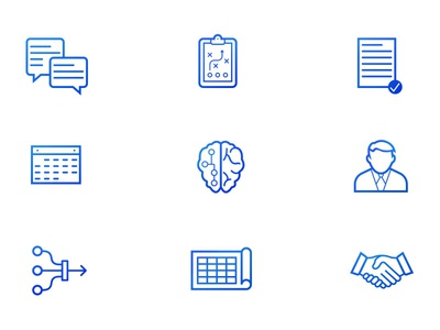Octet Icons minimal simple paper business line art blue branding gradient icons