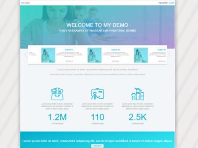 Demo Site Material Desing Angular5 develop web ui ux college home angular5 education app demo desing material