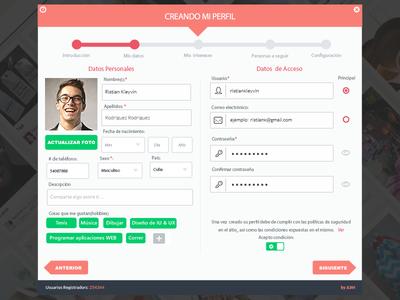 Profile Register Step2 web wizard steps green access login register profile