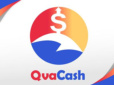 QvaCash Logo arrow personal red cash money finance app mobile cuba blue logo desing