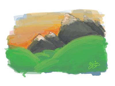 Painting Exercise photoshop art mountains hills sunset digital painting
