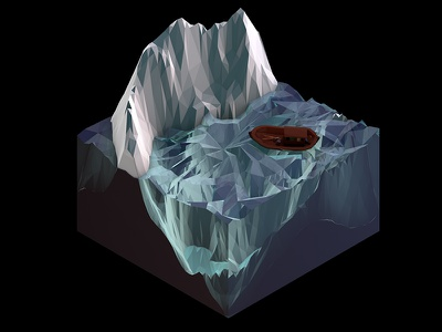 Ship in the Water - Isometric c4d 3d design cinema 4d lowpoly low poly polygon