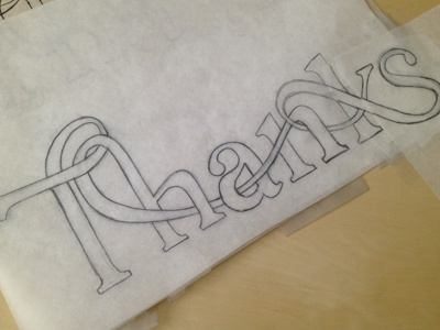Thanks for the Invite typography sketch thanks