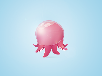 Octopus buatoom claire paoletti jellypus jelly pink animal character fish illustration mollusca wild reflect poulpe design pet
