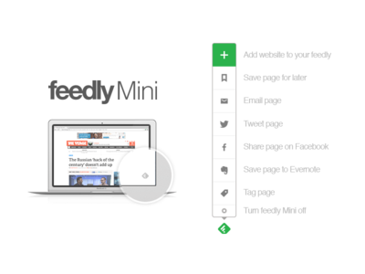 Feedly Mini feed app feedly app feedly share facebook twitter evernote feedly mini extension chrome web design ui ux