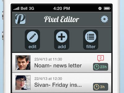 Pixel Editor app ui gui magazine blog posts buttons iphone