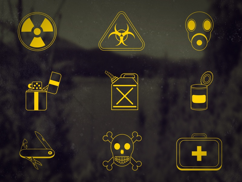 Dooms Day Icons freebie icons ui apocalypse skull zippo can biohazard radioactive gas mask first aid