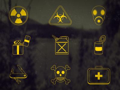 Dooms Day Icons freebie icons ui apocalypse skull zippo can biohazard radioactive gas mask first aid