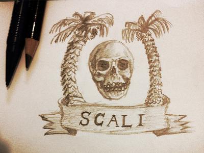 Scali Logo Sketch logo skull palm tree pencil california